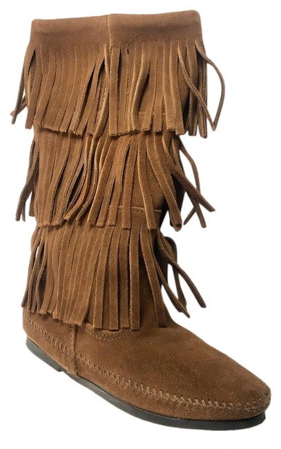 Item - Brown Suede 3-layer Fringe Boots/Booties Size US 6 Regular (M, B)