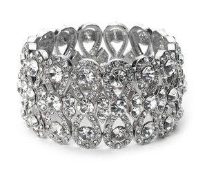 Usabride Special Occasion Pave Swirl Silver-tone Rhinestone Stretch Bracelet 1302 S