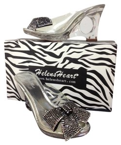Helen's Heart Cinderella Glass Slipper Clear Lucite w/Black AB Crystal Bow Sandals
