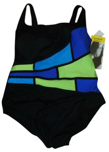 Longitude SWIMSUIT 22W LONGTIDE LIGHT RAYS BLACK W VIBRANT COLORS