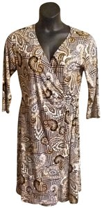 Shelby & Palmer short dress Black, Gold & White Faux Leather Pullover 3/4 Sleeve on Tradesy