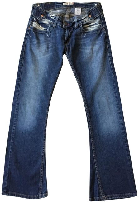 Item - Blue Distressed Slouchy Flare Leg Jeans Size 28 (4, S)