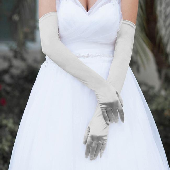 Item - Gray Dressy Satin Long Evening Gloves