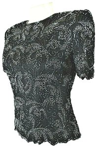 Papell Boutique Top Black Silk Beaded Blouse