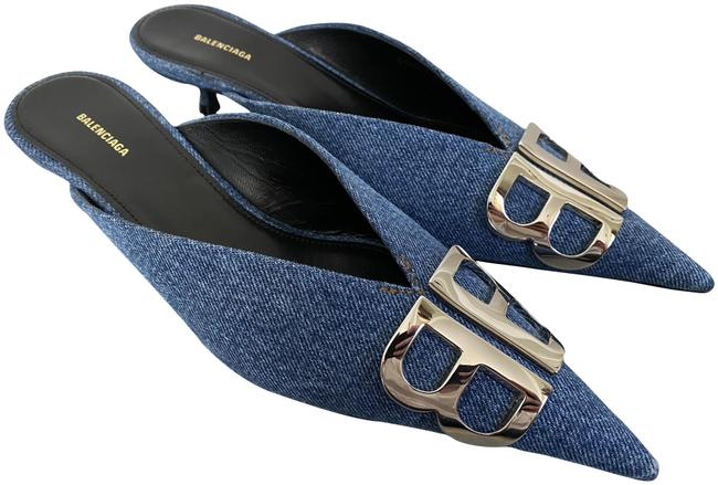Item - Blue Logo Knife Denim Pointed Toe Mule Pumps Size EU 36.5 (Approx. US 6.5) Regular (M, B)