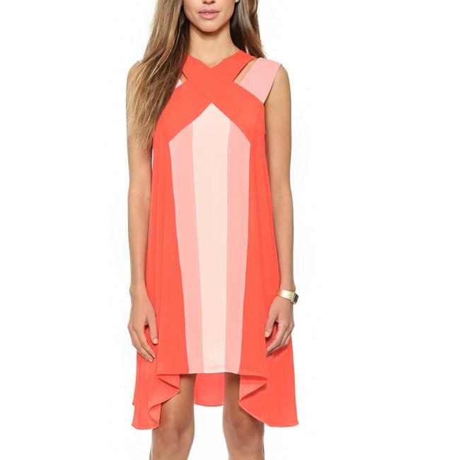 Item - Pink and Orange Chantal Crossover Mid-length Cocktail Dress Size 2 (XS)