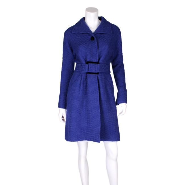 Item - Blue Wool Belted Textured Button-up Coat Size 10 (M)