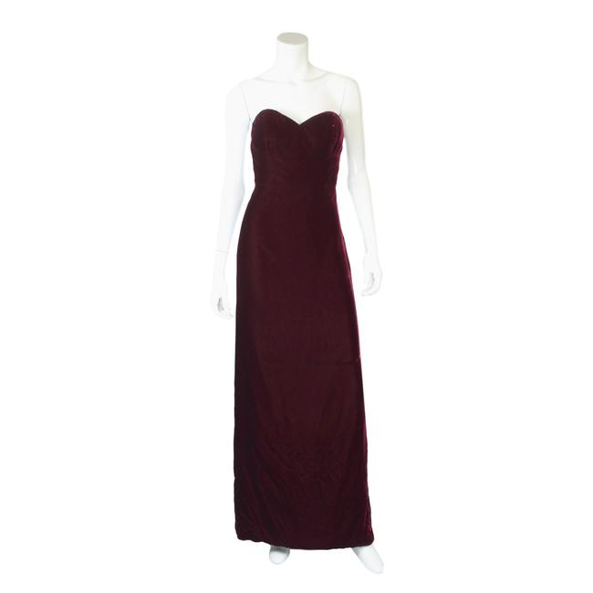 Item - Burgundy Vintage Velvet Strapless Maxi Gown Lace-up Corset Gown Long Formal Dress Size 6 (S)