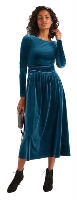 Item - Blue Lois Velvet Midi Career Party Mid-length Night Out Dress Size 6 (S)