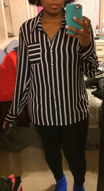 Express Button Down Shirt Black and White Striped