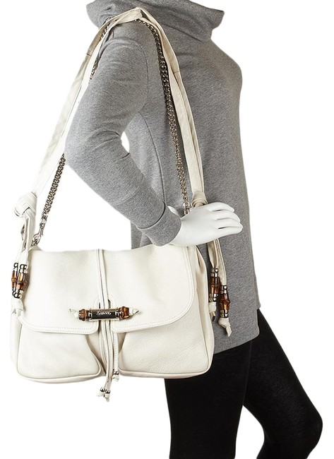 Item - Bamboo Chain Shoulder Jungle White Leather Messenger Bag