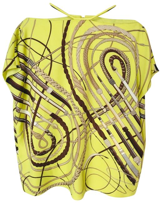 Item - Yellow Spring/Summer Colors Iconic Print Top/ Tunic/ Tee Shirt Size 6 (S)