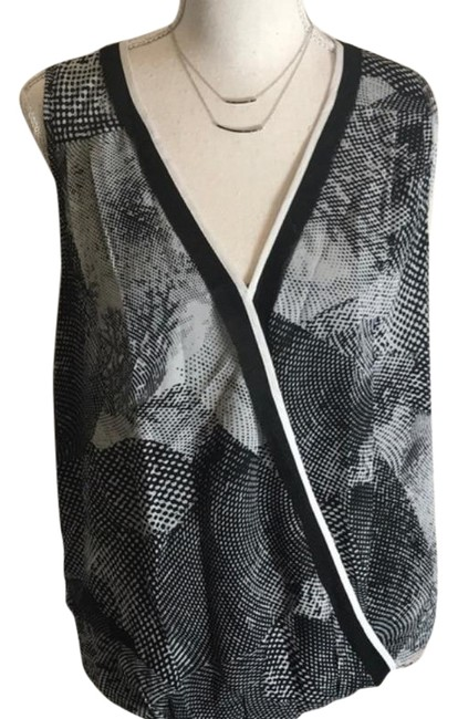 Item - Black Gray Crossover Blouse Size 4 (S)