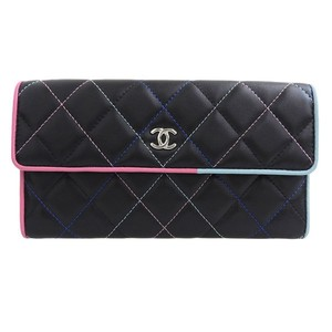 Chanel Genuine CHANEL Chanel Lamb Tri-Fold Long Wallet Black Multicolor 27th - item med img