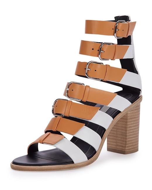 Item - White Tan Buckled Strappy Leather Gladiator Sandals Size EU 37 (Approx. US 7) Regular (M, B)
