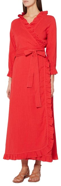 Item - Red Cotton Gauze Ruffle Long Casual Maxi Dress Size 8 (M)