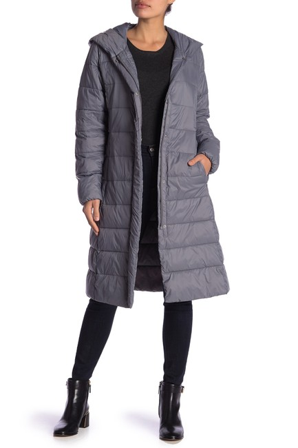 Item - Grey Hooded Knee Length Puffer Coat Size 2 (XS)