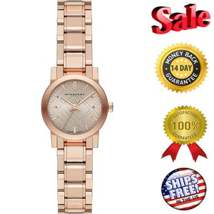 Burberry NEW BURBERRY WOMEN'S PETITE ROSE GOLD TONE BAND / DIAL ACCENT WATCH B
