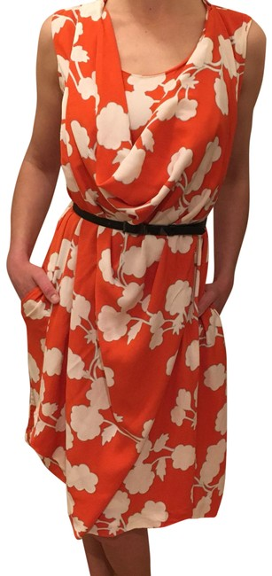 Item - Orange/White Floral Silk Mid-length Short Casual Dress Size 2 (XS)