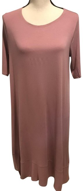 Item - Pink Jersey Rose Quartz Sleeve Shift Mid-length Short Casual Dress Size 14 (L)