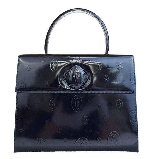 Item - Logo Happy Birthday Hand France Navy Blue Patent Leather Tote
