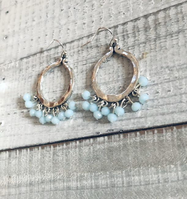 Bohemian Rose Mint Green Hammered Silver Earrings Bohemian Rose Mint Green Hammered Silver Earrings Image 4