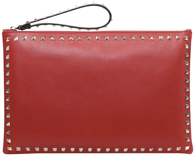 Item - Rockstud Rosso Gold Spike Stud Large Wristlet Pouch Red Calfskin Leather Clutch