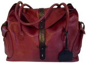 Henry Beguelin Satchel in Italian handmade, hand-dyed prune with black calfskin