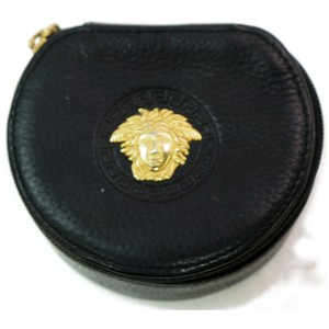 Versace Medusa Jewelry Case Black Leather Coin Purse 872623