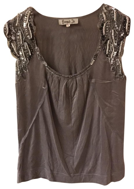 Item - Gray Grey Embroidered and Studded Chic Blouse Size 6 (S)