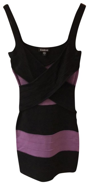 Item - Black and Purple Conscious Bandage In Short Night Out Dress Size 6 (S)