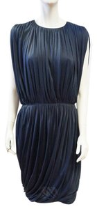 Derek Lam Indigo Blue Draped Sleeveless Silk Size 8m Dress
