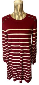 Express short dress Red/White Long Sleeve Striped on Tradesy