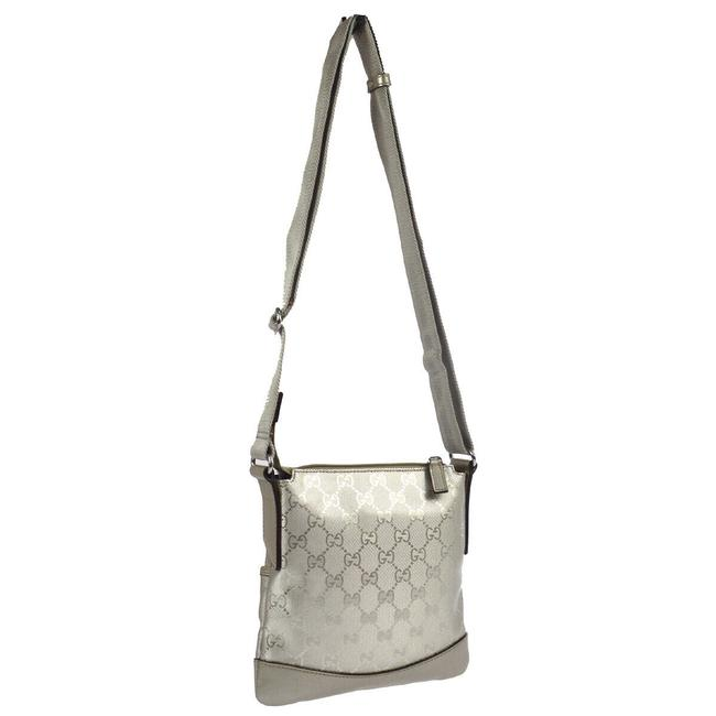 Item - Logo Hand Monogram Silver Canvas/Leather Cross Body Bag