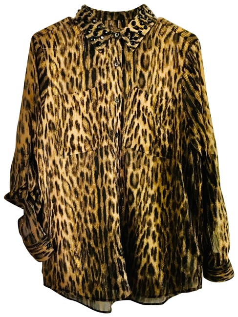 Item - Black Brown and Gold Animal Print Button-down Top Size 8 (M)