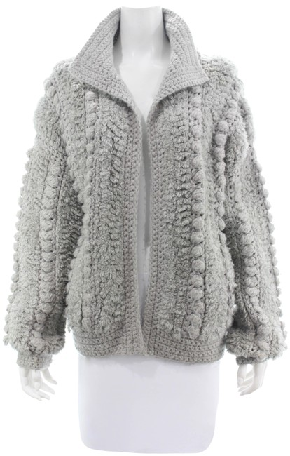 Item - Grey Unique Chunky Knit Open Sweater Cardigan Size OS (one size)