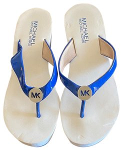 Michael Kors blue and white Wedges
