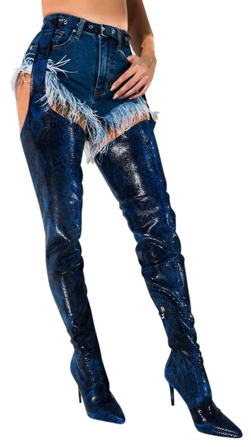 Item - Blue Snake Belted Thigh Stiletto Chap Crotch Sexy Boots/Booties Size US 7 Regular (M, B)