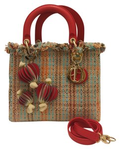 Christian Dior Limited Edition Raffia Tote in Red Multi