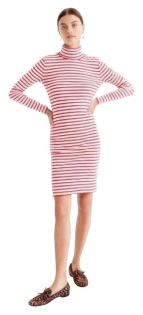 Item - Red & Cream Striped Turtleneck Mod Mid-length Short Casual Dress Size 4 (S)