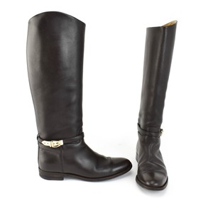 Gucci Logo Gold Leather Dark Brown Boots