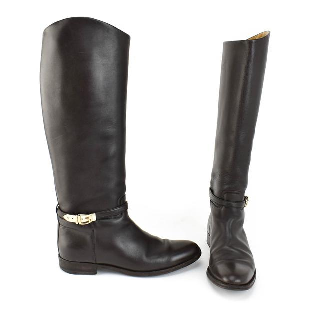 """Item - Dark Brown Leather Gold Logo """"Buckle"""" Tall Riding Boots/Booties Size EU 39 (Approx. US 9) Wide (C, D)"""