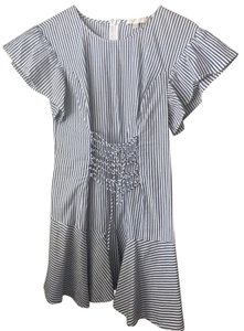 WAYF short dress white and blue stripped on Tradesy