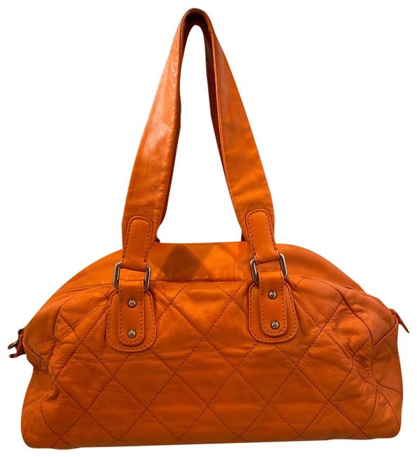 Item - Bowling Orange Lambskin Leather Weekend/Travel Bag
