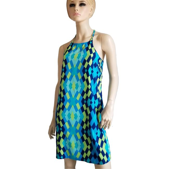 Item - Turquoise Green and Blue Hulter Mid-length Short Casual Dress Size 4 (S)
