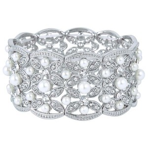 Ever Faith Silver-tone Austrian Crystal White Simulated Pearl Bridal Leaf Stretch Bracelet Clear