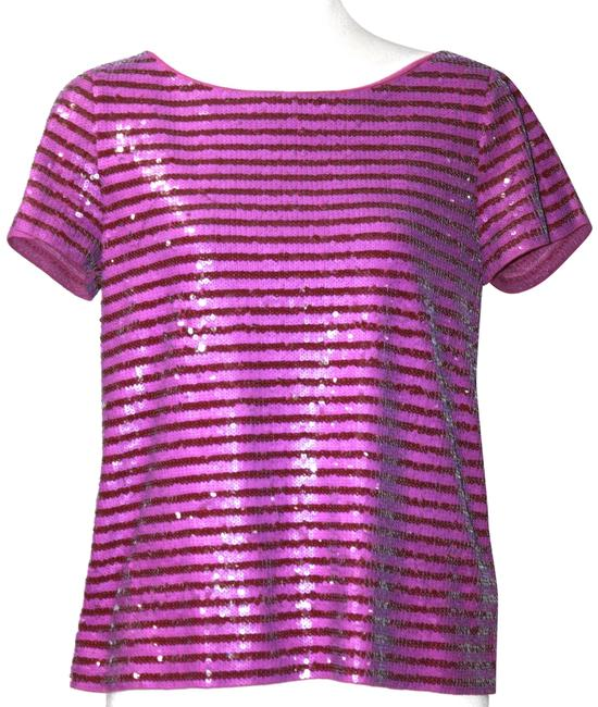 Item - Purple & Burgundy Sequin Sleeve Small Tee Shirt Size 4 (S)