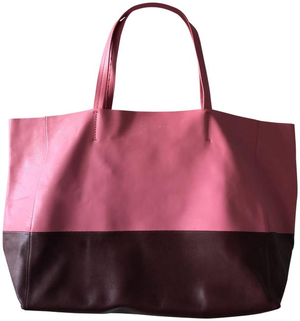 Item - Cabas Pink/Burgundy Horizontal Bi-color Pink/Burgundy Lambskin Leather Tote