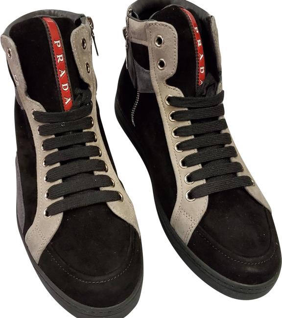 Item - Black/Grey Linea Rossa Suede Hi Top Sneakers Size EU 37 (Approx. US 7) Regular (M, B)