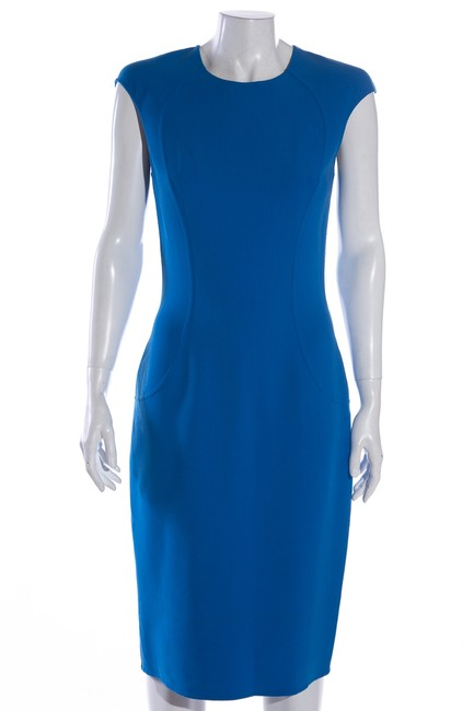 Item - Blue Exclusive Mid-length Work/Office Dress Size 6 (S)